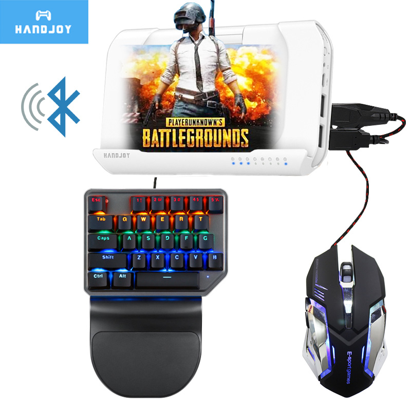 все цены на Handjoy Kmax 2.0 Bluetooth Wireless Gamepad Gaming Keyboard Mouse Android PUBG Mobile to PC Converter Adapter Controller онлайн