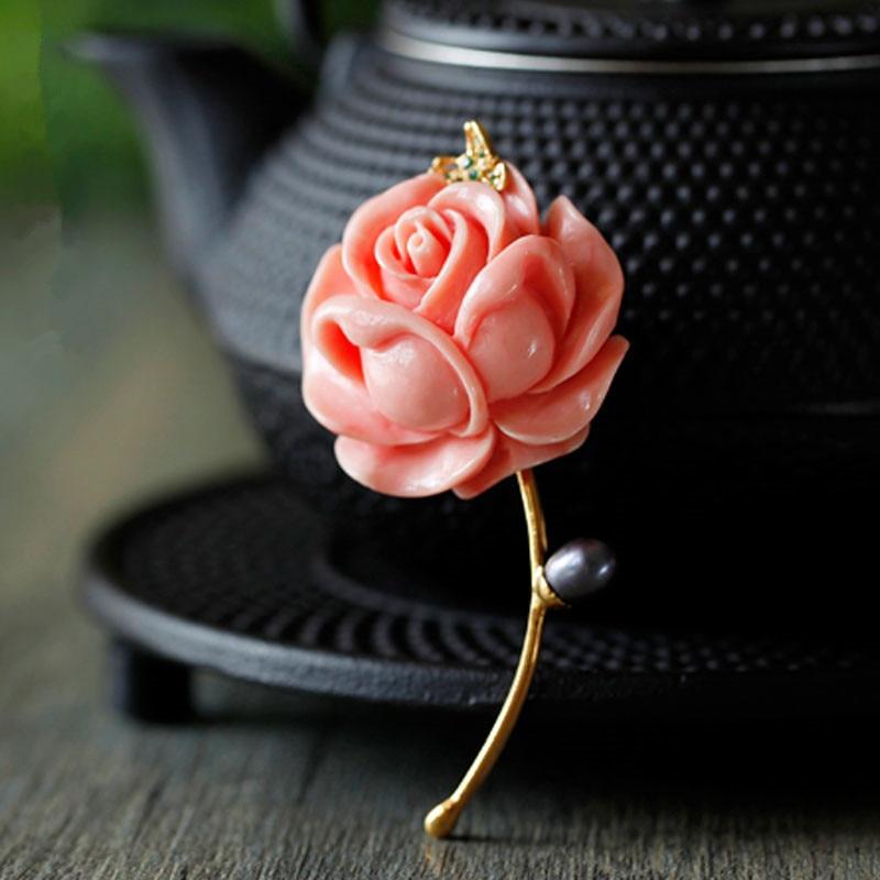 CMAJOR Rose Flower Resin brooch Jewelry Pendants Bijoux Broche Femme Mother of Pearl Brooch Pins For Women elegant faux gem rhinestone flower leaf brooch for women