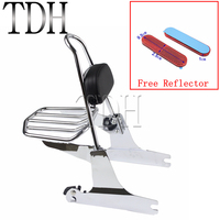 For Harley Dyna Models Motorcycle Chrome Detachable Luggage Rack Backrest Pad With Red Reflector 2002 Later