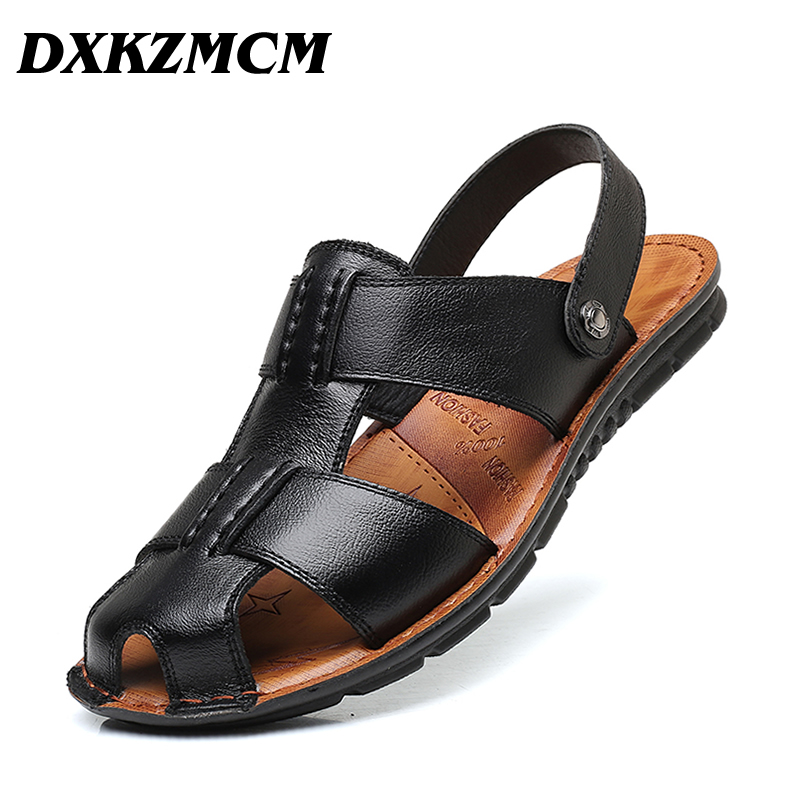 все цены на DXKZMCM Summer Leisure Beach Men Shoes High Quality Leather Sandals Men's Sandals Size 38-45 онлайн