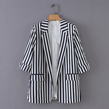 M Korean fashion striped casual womens suit jacket  Office Lady women blazers and jackets