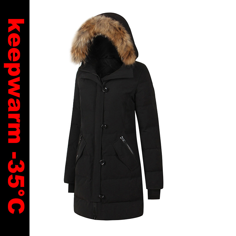 2018 Brand New Womens Duck   Down   Thick Warm Winter Long Parka kensington   Coat   With Real Removeahle Raccoon Fur