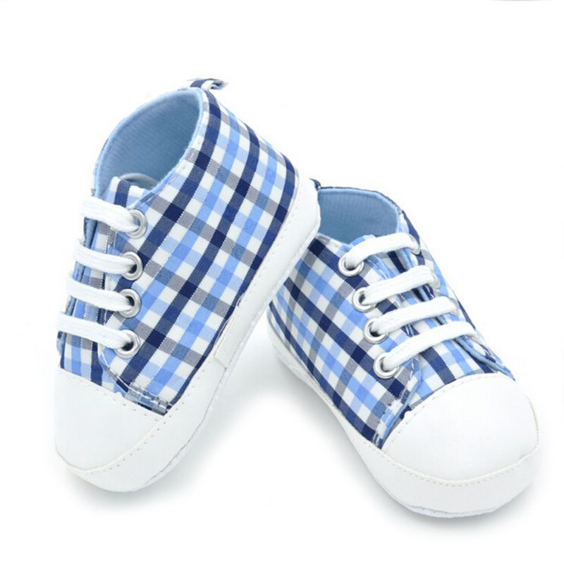 Baby Shoes First Walker Star /plaid Printed Baby Boys Girls Soft Sole Crib Casual Shoe For Newborn