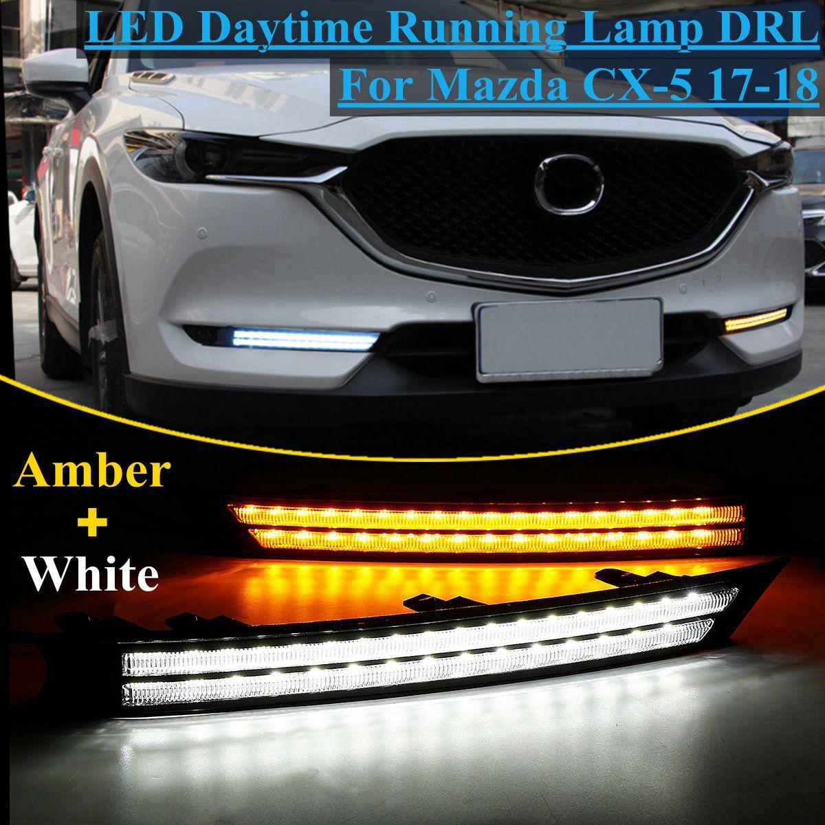 12 V Led Car Drl Daytime Running Luz Nevoeiro Decoração Da Lâmpada Cx-5 Cx5 Fluindo Turno Sinal Para Mazda 2017 2018 relé À Prova D' Água