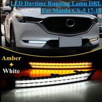 12V Led Car Drl Daytime Running Light Fog Lamp Decoration Flowing Turn Signal For Mazda Cx 5 Cx5 2017 2018 Relay Waterproof