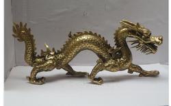 Cobre de Bronze Requintado Casa Longa 11 polegada de Metal artesanato Decoração de Casa Chinês Bronze Estátua de Dragão Esculpido Escultura do dragão