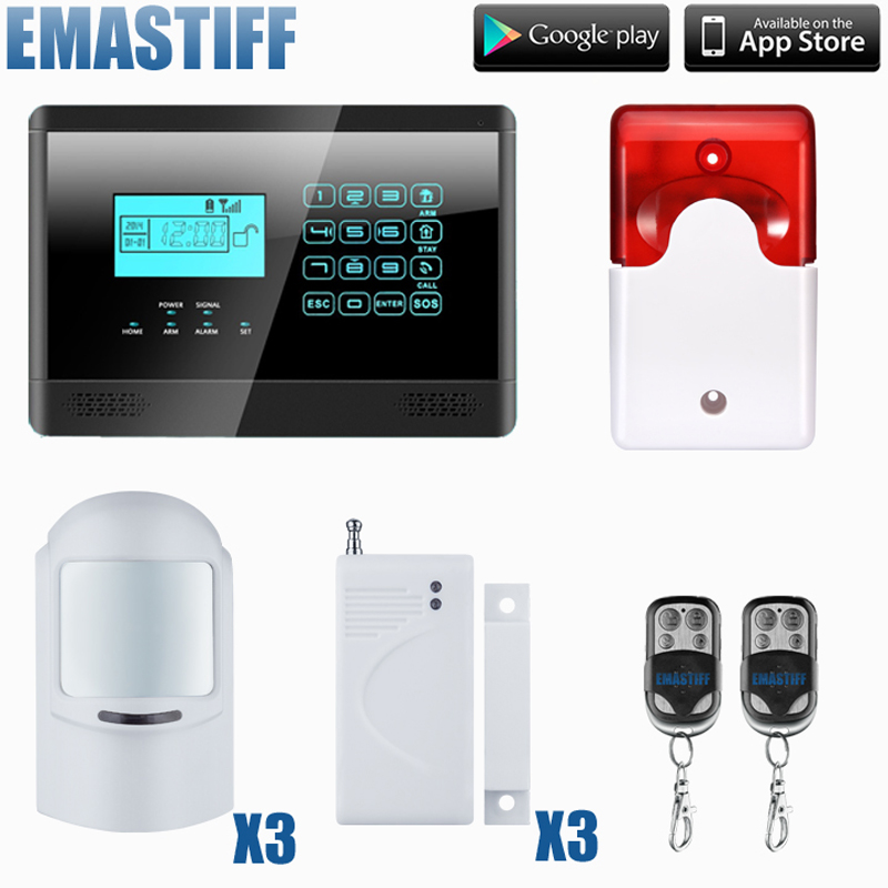 free shipping IOS & andriod App home security GSM alarm system with 3 pet-pir motion detector,3 door sensor 1 set new model wifi and gsm dual network support ios andriod app control alarm system sms wireless pir motion detector