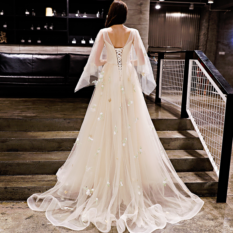 Image 4 - Walk Beside You Champagne Evening Dresses Romantic 3/4 Sleeves  Cap Sleeves Boat Neck Tulle Sweep Train 2020 Long Prom Gown  StockEvening Dresses