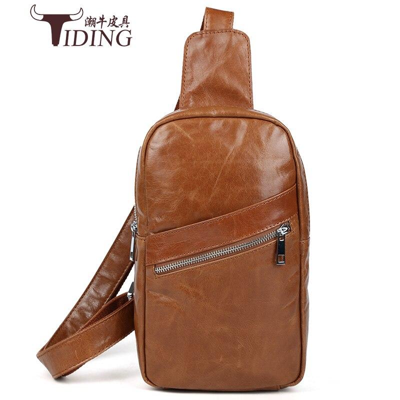 Brand Bag Men Chest Pack Single Shoulder Strap Back Bag Genuine Leather Travel fashion Men Crossbody Bags Vintage Chest Bag