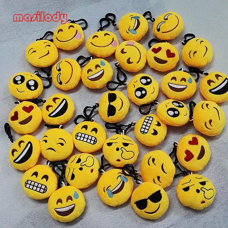 200pcs lot Mixed Emoji Keychain Plush Emoticon Hooks Plush Face Emoji Key Chain Bag hanger Fur