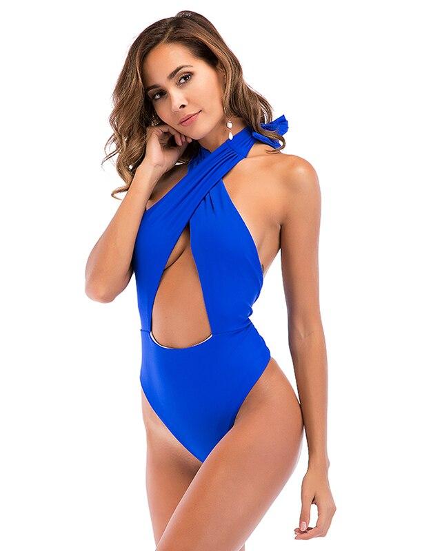High Cut, Cross Halter, One Piece Monokini Swimsuit 7