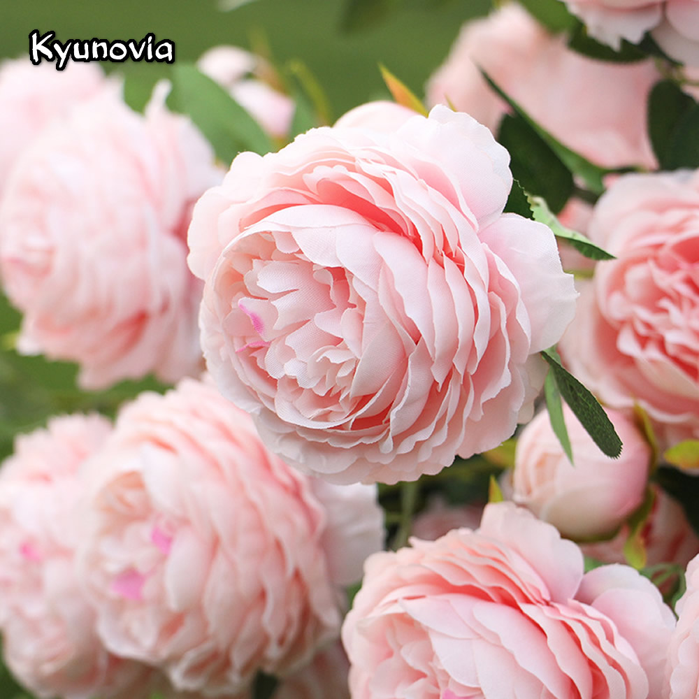 Kyunovia Rosa Decoration Artificial Silk Flowers Leaves 3 heads Long Roses Stem Velvet Rose Wedding Party Home Decorative KY39