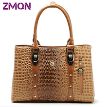 Women Leather Handbags Crocodile Designer Bags Handbag Women Famous Brand 2016 Bolsos Feminina Women Handbags Tote Women Bag 956