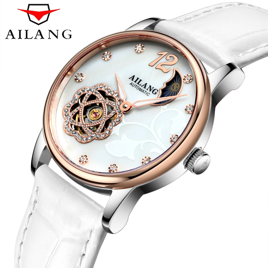 AILANG Brand Women Watches Skeleton Automatic Mechanical Watch Women White Leather Band Tourbillon Moon Phase Clock For Gift цена и фото