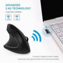 лучшая цена Vertical Ergonomic Mouse Wireless Left Handed Rechargeable Optical Usb Computer Mause 2.4Ghz 6 Button LED 3D PC Mice For Laptop