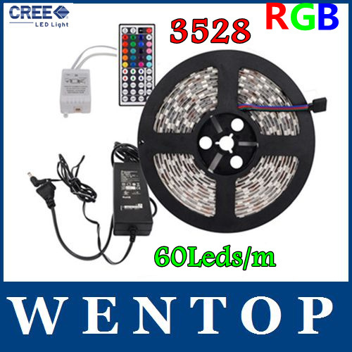 5M 3528 RGB 300 Led SMD Flexible Light Strip and 44Key IR Controller and 12V 3A Transformer  Red green blue yellow warm white