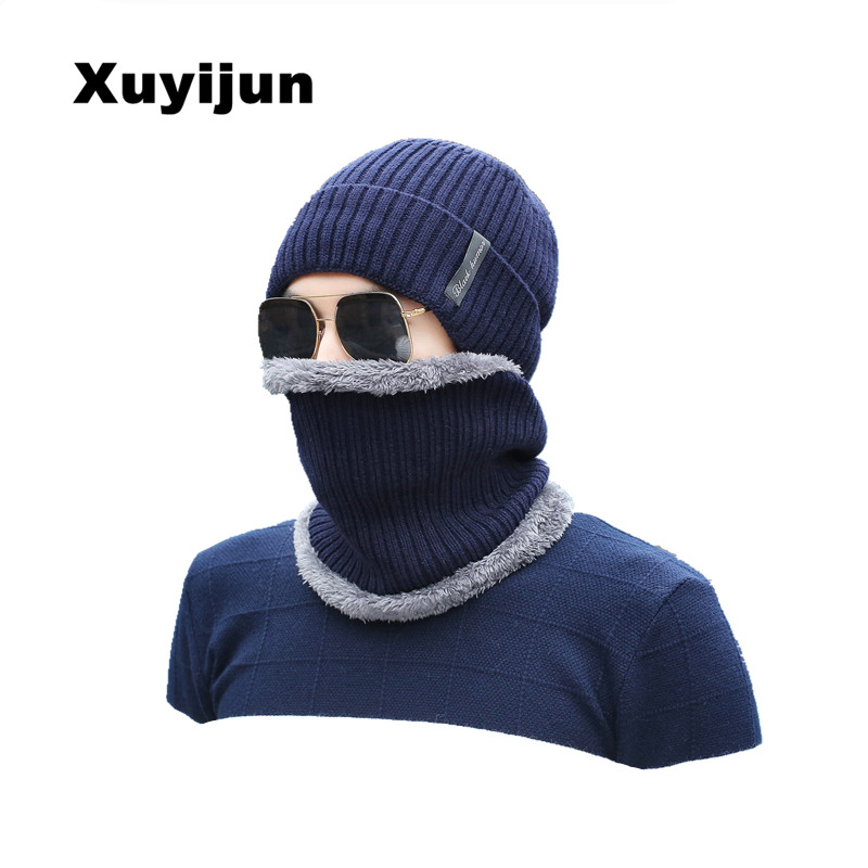 XUYIJUN Winter Caps Beanies Knitted Scarf Cap Hats Mask Hot Baggy Winter Hats For Men Women Skullies Beanies caps knit winter hats for men women bonnet beanies skullies caps winter hat cap balaclava beanie bird embroidery gorros