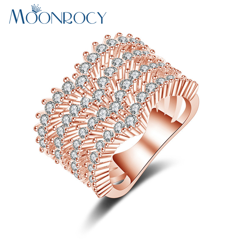 MOONROCY Free Shipping Silver Color Rose Gold Color Flower Cubic Zirconia Crystal OL Wedding Ring for Women Girls Gift