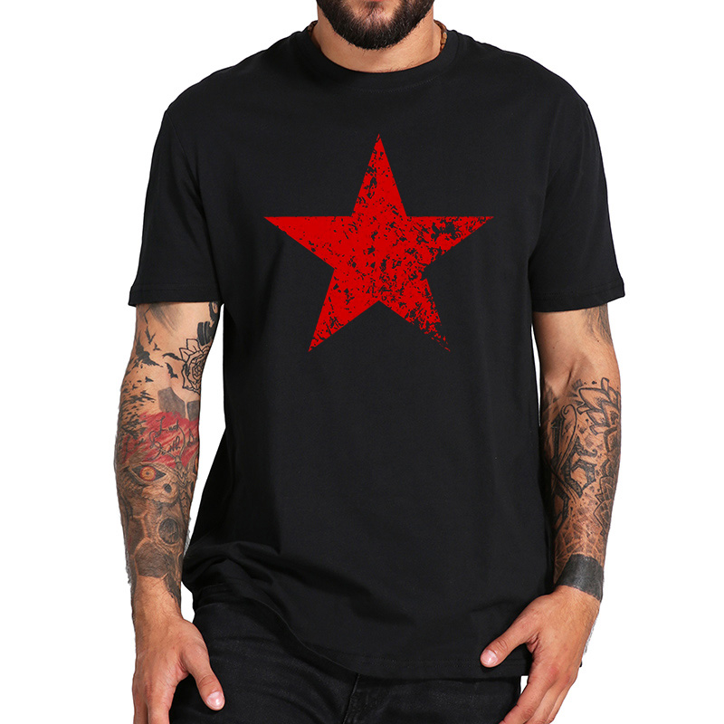 EU Size 100% Cotton T Shirt Red Communist Star TShirts Fashion Casual Breathable Fitness Crew Neck Homme Tops