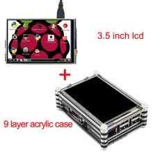 Новое Поступление Raspberry Pi 3 Модель B 3.5 Дюймов Сенсорный ЖК-Экран комплект с 9 слоя Акриловый Чехол для Raspberry Pi 2 3 Модель B