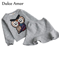 Dulce Amor Girls Clothes Set 2 PCS Autumn Winter Cotton Girl Clothing Suit Full Sleeve Embroidery