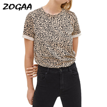 Women Summer T shirt 2019 Fashion Leopard T Shirt Short Sleeve Casual Tops Tees Plus Size Sexy Streetwear T-shirt Camisas Mujer plus size pockets design leopard t shirt