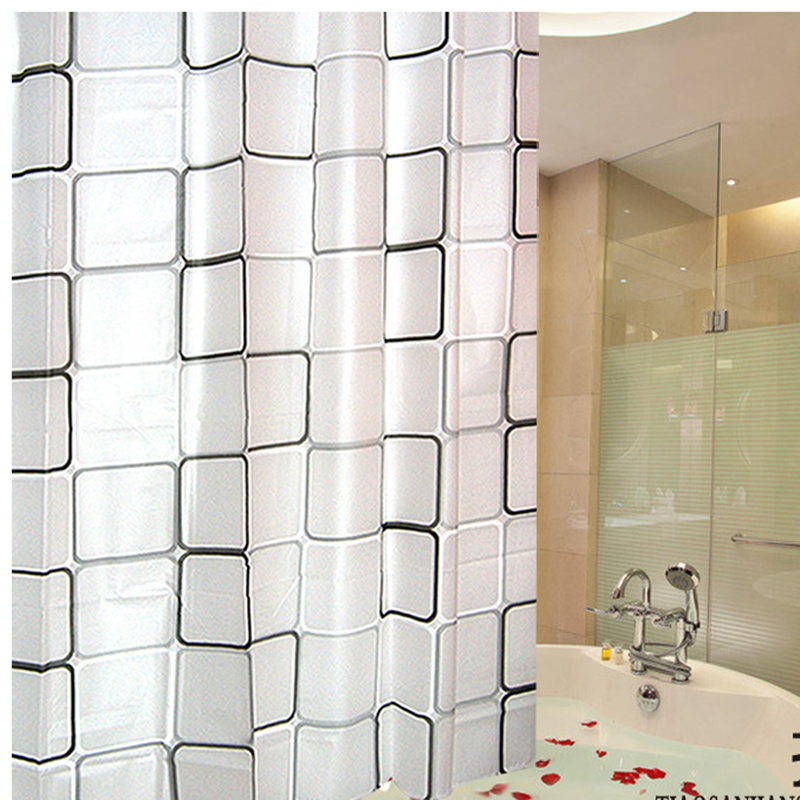 transparent fabric shower curtain. LumiParty 3D Plaid Waterproof Bathroom Shower Curtains WaterProof Transparent  Fabric Curtain Thickening Bath in from Home