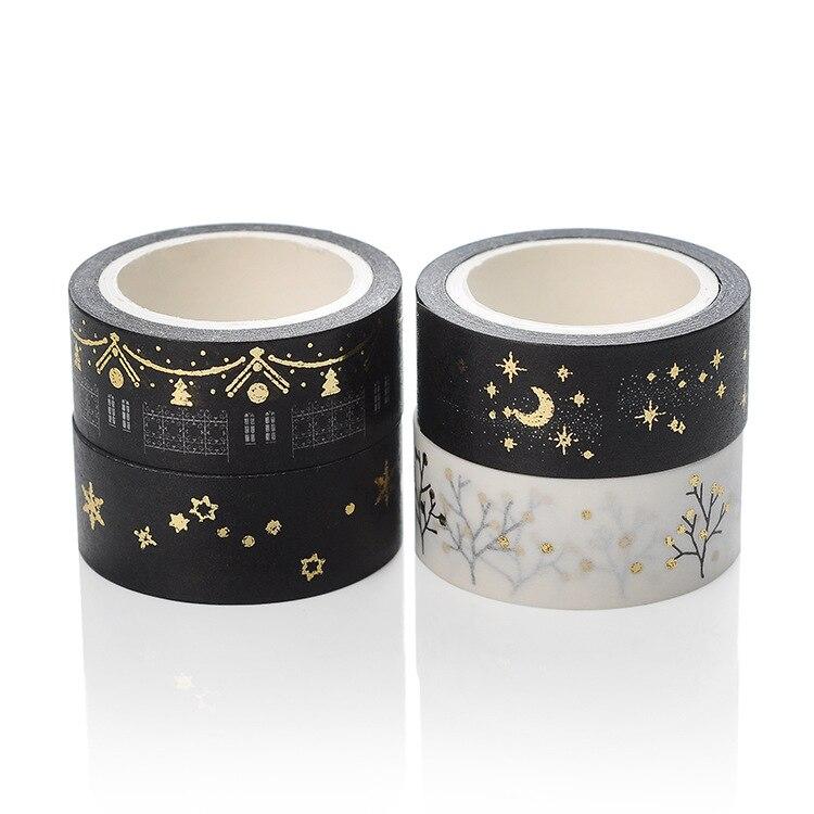 Jonvon Satone 2pcs/set Washi Tape Glitter Gold Diary Decorative Adhesive Tapes Hand Torn Tape Scrapbooking Stickers 15mm*5m war torn