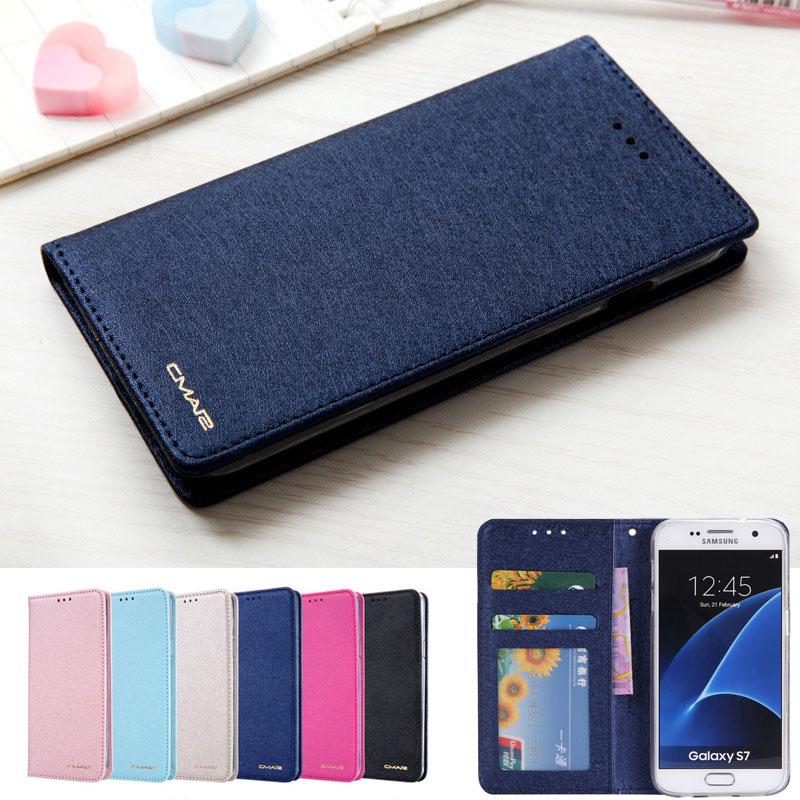 795217e59f9 Flip Case Cover For Samsung Galaxy S7 Edge 7 Fundas Wallet Silk Phone  Leather Samsung S7 S ...