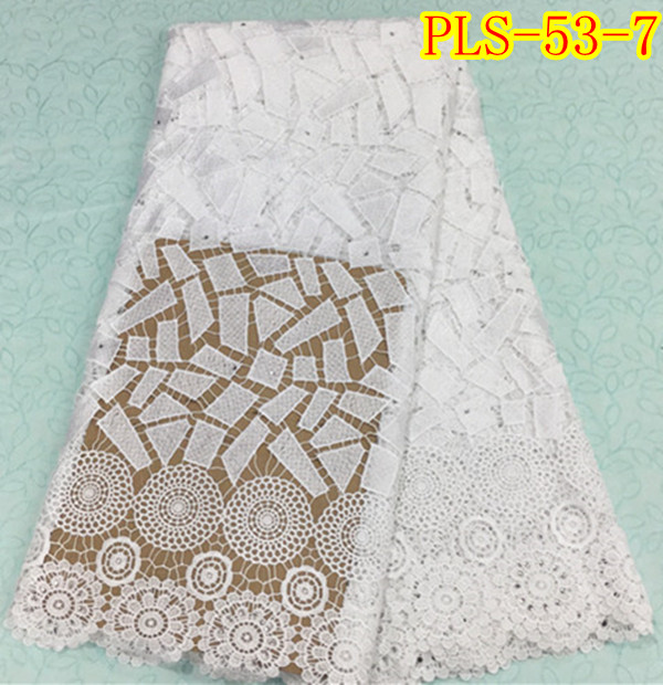 Good quality african cord lace fabric with stones nigerian guipure lace fabrics french lace fabric PLS