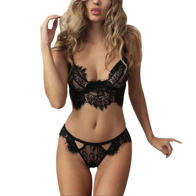 Womens Lace Vest Bra Set Ladies Sexy Bra Top Corset Push Up Underwear Nightwear Sleepwear S-XL S2
