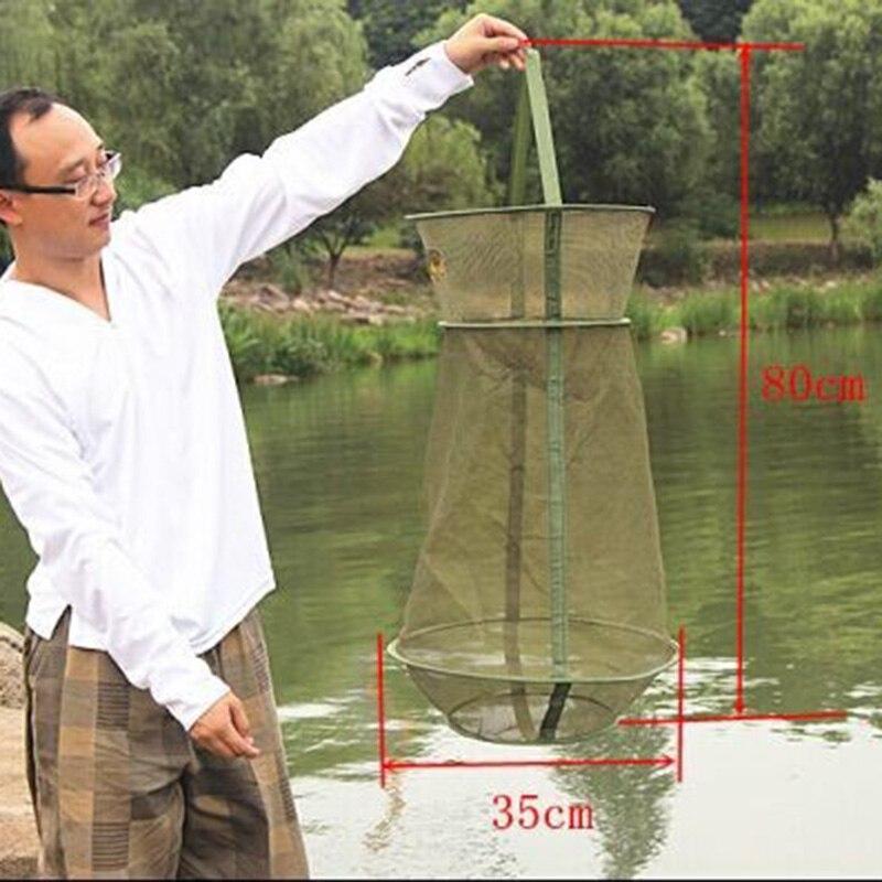 4 maten 3 Lagen Visnet Ronde Vouwen Vis Garnalen Mesh Kooi Cast Net Fishing Trap Netwerk Vouw Schepnet