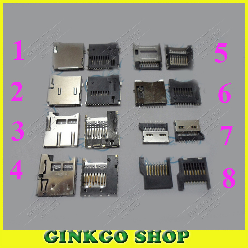 16pcs/lot 8Models Mobile Phone Micro SD Card Slot TF card connector inner outer soldering type for digital product ect