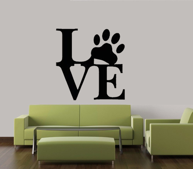 Love paw print dog pet decal wall vinyl decor sticker home cat dog animal quote size