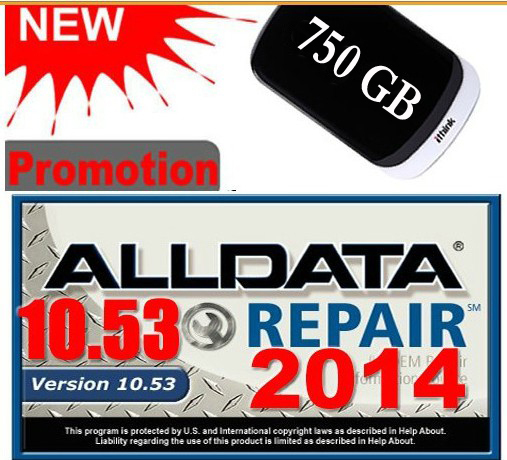 Big Sale Auto Repair Software ALLDATA 10.53 ALL DATA Car Repair Software with USB 3.0 750GB Hard Disk Hard Drive Diagnostic Tool