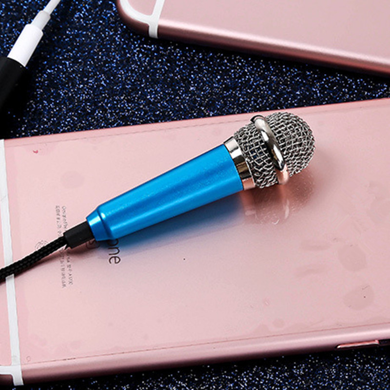Fashion 3.5mm Smartphone Min Karaoke Microphones 2.0 For iPhone 5 6 6S IOS Music Stereo Singing Mic For Smartphone + Mic Holder smartphone