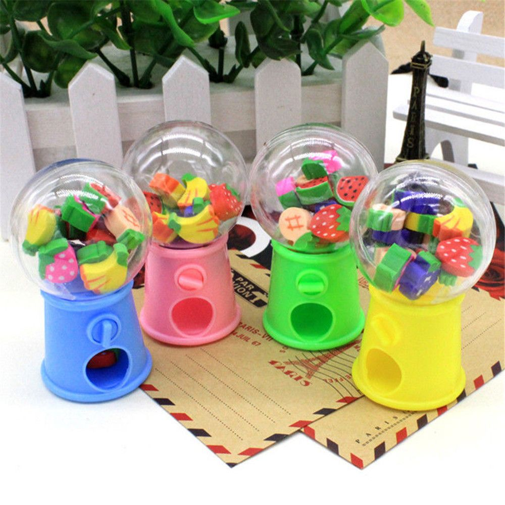 1PCS Creative Cartoon Fruit Eraser Machine Eraser Dispenser Machine Stationery Office Christmas Gift For Student