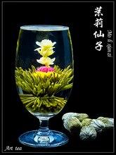 12 unids del jazmín y globosa blooming flower tea balls, envasado al vacío individual, té hecho a mano artístico