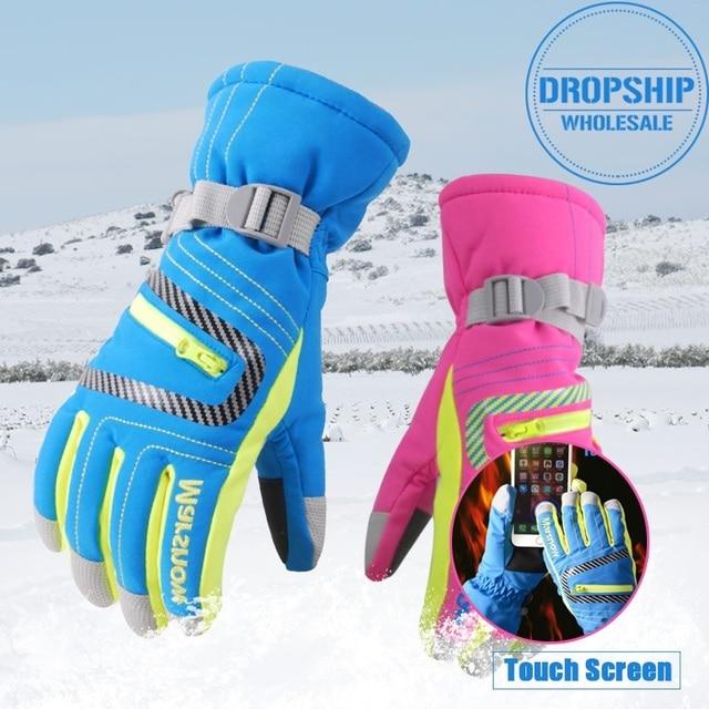 2018 Winter Ski Gloves Waterproof Super Warm Glove for Skiing Cycling Snowmobile Riding Sport Snowboard Gloves Men Women Kids