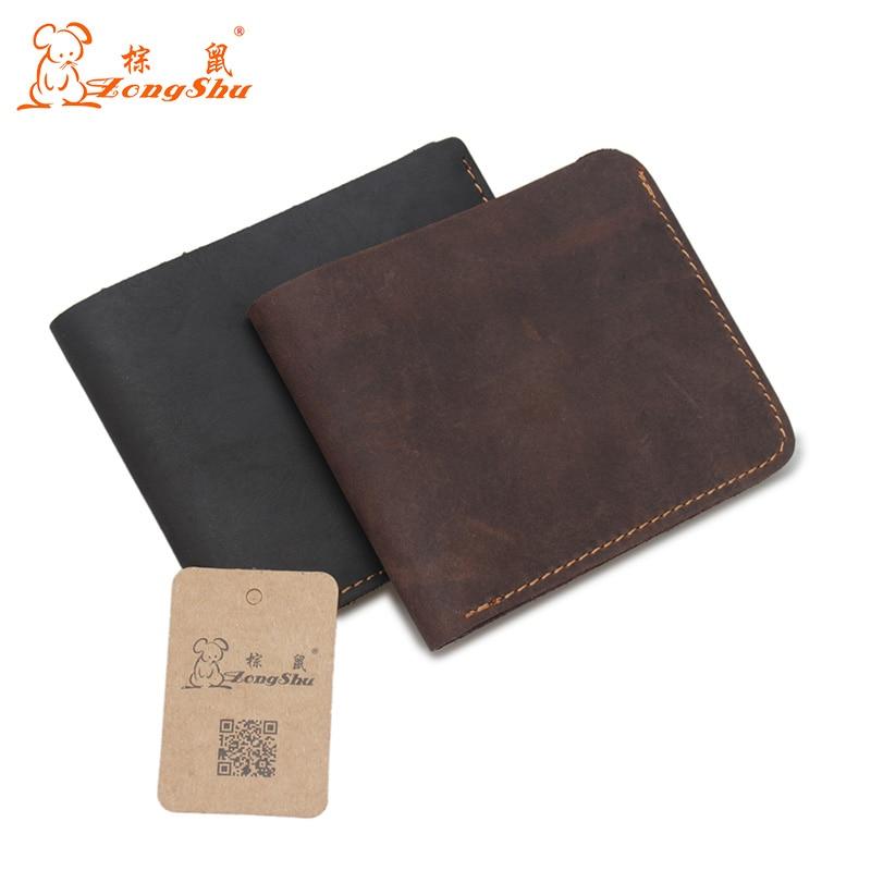 2017 Vintage Men Genuine Cow Leather Wallet Short Designer Card Holder Pocket Fashion Male Carteras Coin Purses Wallets