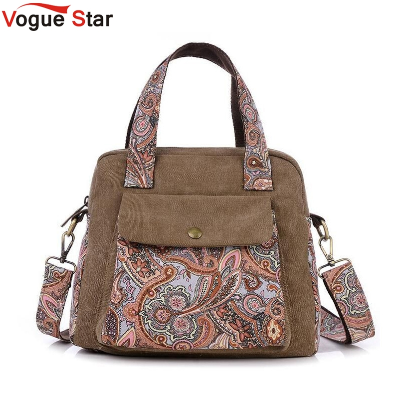 Vogue Star New Top Quality Vintage Women Handbag Ethnic Style Print Flower Canvas Tote Shoulder bag Women Messenger Bag LS196 ethnic style elephant print and black design shoulder bag for women