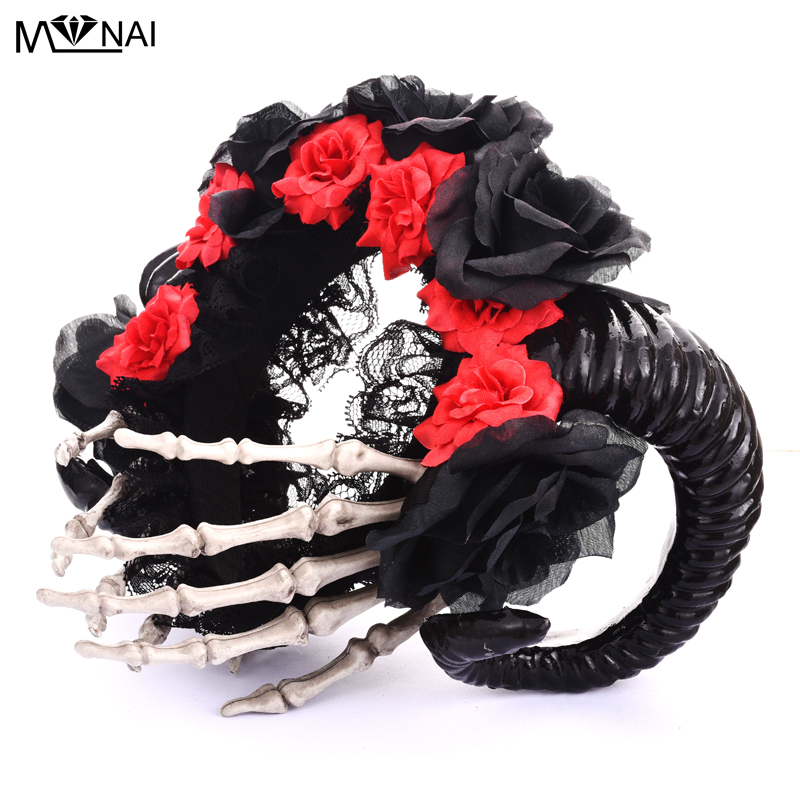 Steampunk Horn Flowers Headband Fancy Halloween Hand Skeleton Hair Band Party Photography Hair Accessories Goth