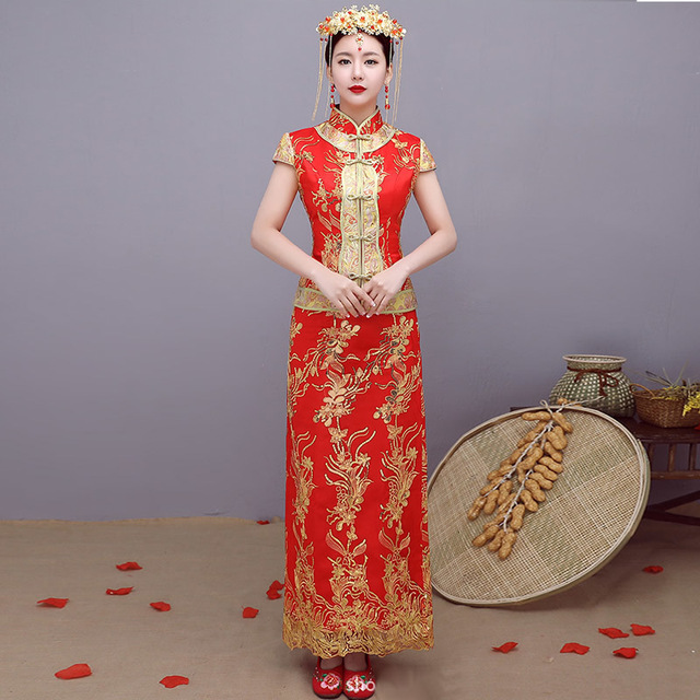 e628fa87ab1 Women Red Traditional Gown 17 Bride Chinese Wedding Dress Vintage Vestido Style  Robes Oriental Wholesale Modern Qipao Dresses