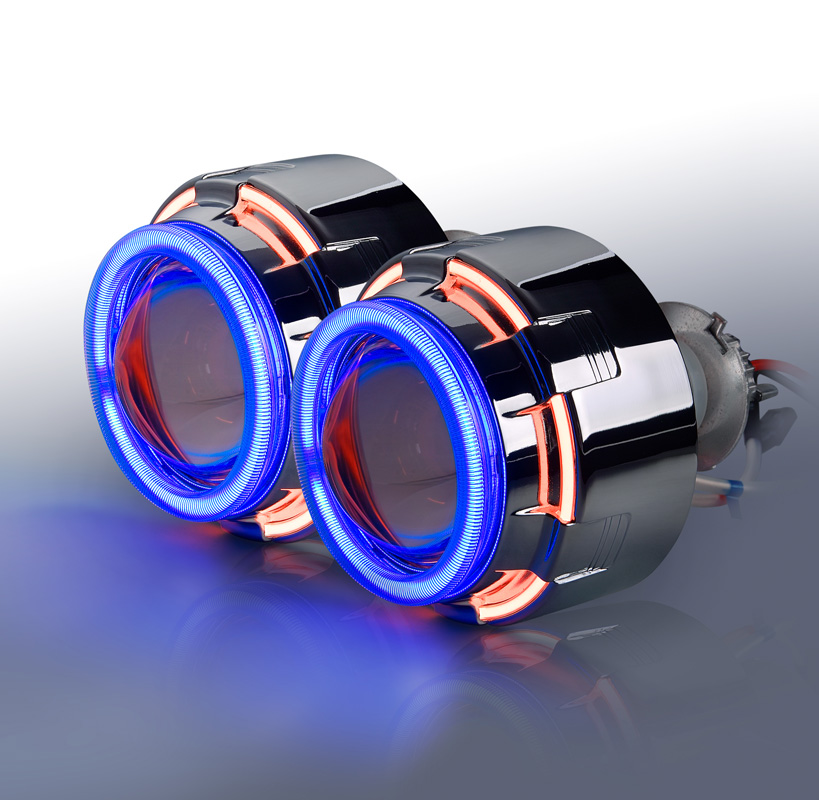 3 inch bi xenon HID Projector Lens H1 H7 H4 H13 9007 9005 9006 Double Angle Eye car styling in car front angel eyes royalin car styling hid h1 bi xenon headlight projector lens 3 0 inch full metal w 360 devil eyes red blue for h4 h7 auto light