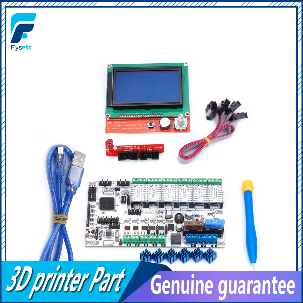 Rumba All In One Board Control Card Integrated Stepper Motor Plus Driver Motherboard 12864 Lcd Display Screen 6pcs A4988 Drv8825