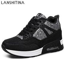 2017 Bling Womens Casual Shoes Spring Autumn Breathable women Shoes Wedges Light Soft Black Shoes Zapatillas Deportivas Hombre