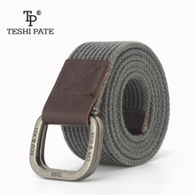 TESHI PATE TP 2017 Alloy double buckle Cotton canvas Men young student juvenile jeans trend belt