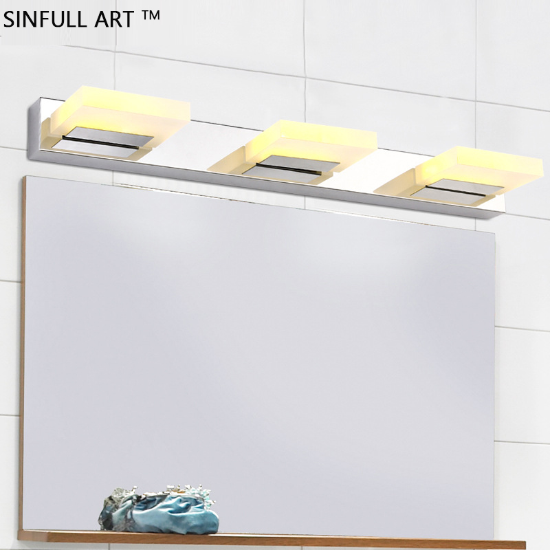 SINFULL High quality acrylic LED bathroom light stainless steel led mirror lamp dresser waterproof sconce home wall lighting modern led bathroom light stainless steel led mirror lamp dresser cabinet waterproof sconce indoor home wall lighting fixtures