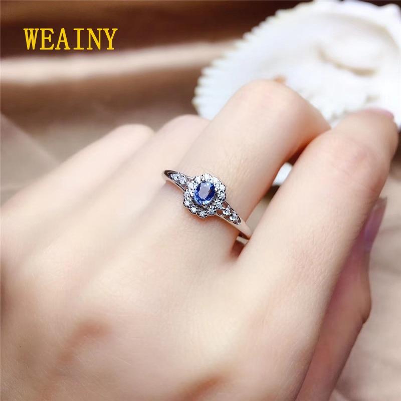 WEAINY Genuine Natural Sri Lanka Sapphire S925 Sterling Silver Ring Birthstone Ring Ladies Blue Gemstone Fashion Pop Ring