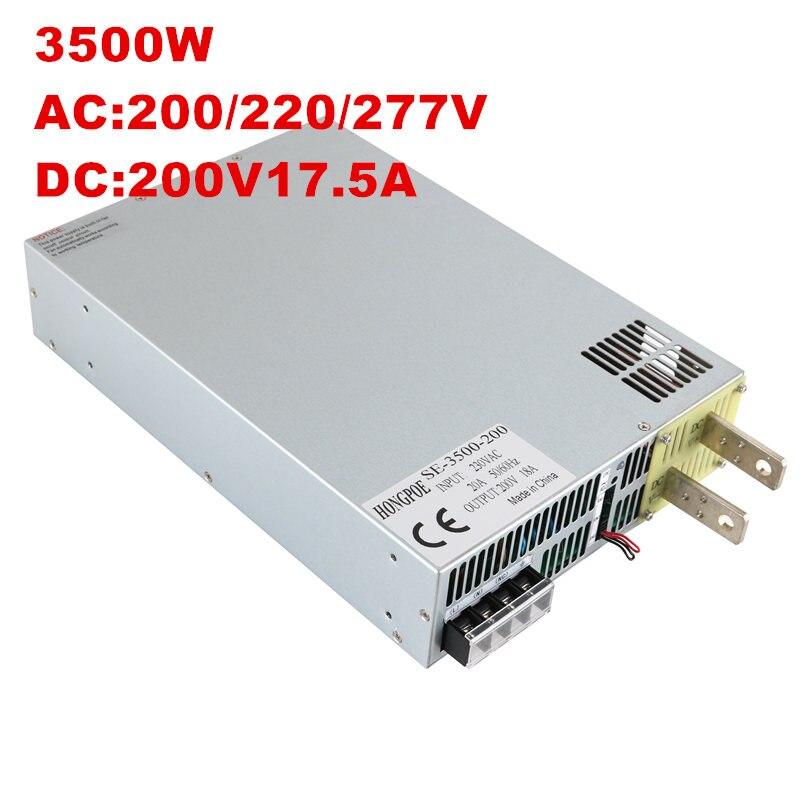 3500 W 200 V alimentation 0-200 V puissance réglable 200VDC AC-DC 0-5 V contrôle du Signal analogique SE-3500-200 transformateur de puissance 200 V 17A